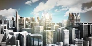 Panorama moderne de gratte-ciel de paysage urbain de panorama du ce Photographie stock libre de droits