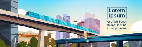 Panorama moderne de ville avec de hauts gratte-ciel et bannière horizontale de fond de calibre de paysage urbain de souterrain illustration de vecteur