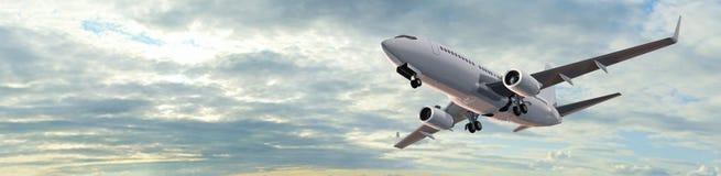 Panorama moderno di volo dell'aeroplano del passeggero Fotografia Stock