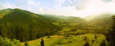 Panorama of Mokra Gora. Panoramic image of Mokra Gora, famous touristic resort in Serbia stock photos