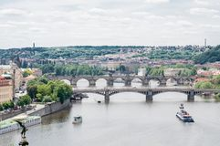 Panorama of Moldova river in Prague Stock Image