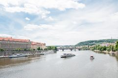Panorama of Moldova river in Prague Stock Photo