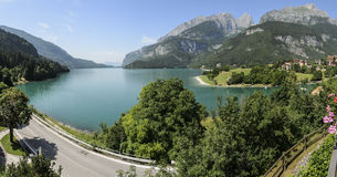 Panorama on Molveno lake Royalty Free Stock Image