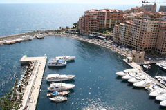 Panorama of Monaco. And yachts Stock Photography
