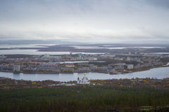 Panorama of Monchegorsk town, Russia Stock Photos