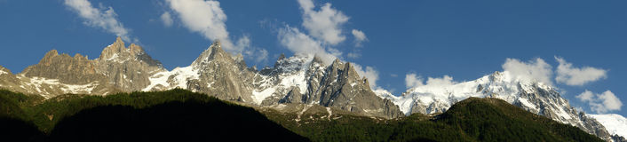 Panorama of Mont Blanc Stock Images