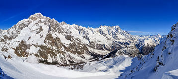 Panorama of Mont Blanc de Courmayeur, Val Veny, and Youla slope Royalty Free Stock Image