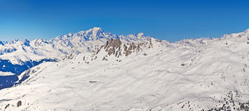 Panorama of the Mont Blanc in the French Alps Royalty Free Stock Photo