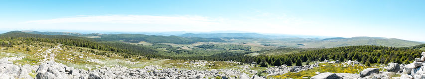 Panorama of Mont Lozere with stone, rocks and forests, Cevennes, France Stock Photos