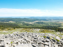 Panorama of Mont Lozere with stones, rocks and forests, Cevennes, France Stock Photo