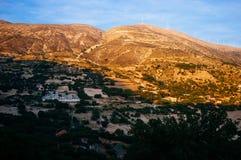 Panorama montagneux 7 de coucher du soleil de la Grèce-Kefalonia photos stock