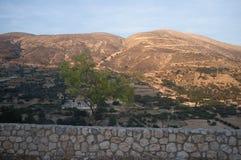 Panorama montagneux 6 de coucher du soleil de la Grèce-Kefalonia photographie stock libre de droits
