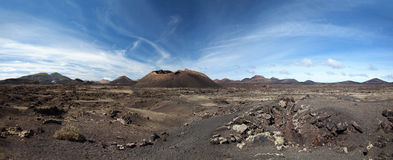 Panorama - Montana del Cuervo in Lanzarote Royalty Free Stock Images