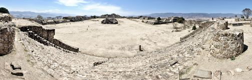 Panorama of Monte Alban ruins, Mexico. Aerial view of Monte Alban Ruins, Oaxaca, Mexico with Royalty Free Stock Images