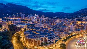 Panorama of Monte Carlo day to night timelapse from the observation deck in the village of Monaco near Port Hercules. Panorama of Monte Carlo day to night stock video