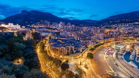 Panorama of Monte Carlo day to night timelapse from the observation deck in the village of Monaco near Port Hercules. Panorama of Monte Carlo day to night stock video footage