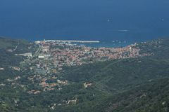 Panorama by Monte Perone. On Elba Island, Italy. Panorama visible from Monte Perone. This place is located on Elba Island, in Tuscany, Italy. The island is a royalty free stock image