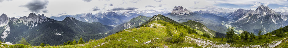 Panorama from Monte Rite, Dolomites, Alps, Italy Stock Photos