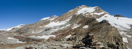 Panorama of Monte Rosa massif near Punto Indren. Alagna Valsesia area, Italy royalty free stock photography