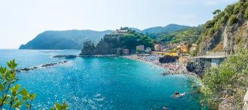 Panorama of Monterosso beach in summer season, Cinque terre, Lig Stock Images