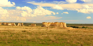 Panorama of Monument Rocks in Western Kansas Royalty Free Stock Photo