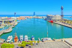 Panorama from the monument to Christopher Columbus on the Barcel Royalty Free Stock Photos