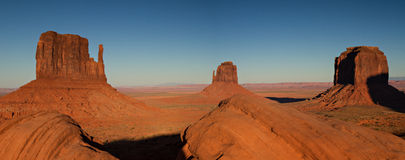 Panorama of the Monument Valley at sunset Stock Photo