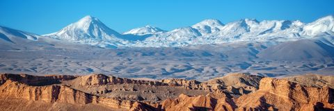 Panorama of Moon Valley in Atacama desert, Andes mountain range in the background, Chile. Panorama of Moon Valley in Atacama desert, snowy Andes mountain range stock photo
