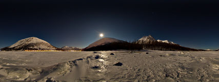 Panorama moonlight from sea ice in the winter Stock Photos