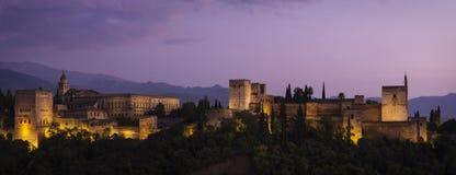 Alhambra at Dusk. Panorama of the Moorish palace Alhambra in Granada at dusk. Shot from Mirador, San Nicolas Royalty Free Stock Photography