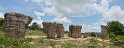 Panorama Mor Hin Khaow Stonehenge of Chaiyaphum Thailand. Mor Hin Khao or known as Stonehenge is located in Chaiyaphum province the area in northeast of Thailand royalty free stock photos