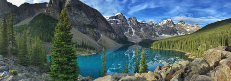 Panorama of Moraine Lake in Banff National Park. Panorama of Moraine lake in Alberta, Canada.  Banff National Park Royalty Free Stock Images