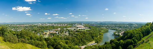 Panorama of Morgantown and WVU in West Virginia. Panorama of WVU Coliseum Arena and campus of West Virginia University with river Monongahela in Morgantown, West royalty free stock photos