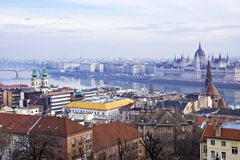 Panorama of the morning Budapest, Hungary Royalty Free Stock Photography