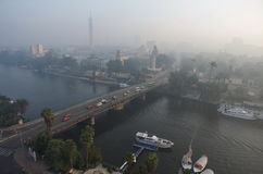 Panorama of morning Cairo, overlooking the Nile. Light haze, Egypt. Cold colors. Landscape stock photos