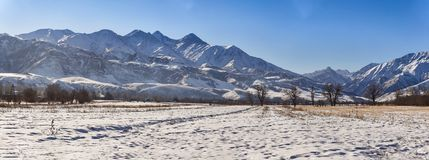 Panorama morning in the mountains stock photography
