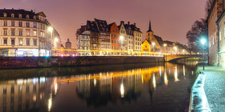 Panorama of morning quay in Strasbourg, Alsace Royalty Free Stock Photos