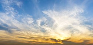 Panorama morning sky and swirl clouds nature background stock photography
