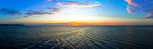 Panorama of Morning Sunrise at the Baltic Sea - Poland. Big Panorama of Sunrise at the Baltic Sea - Sopot in Poland at Morning Stock Photography