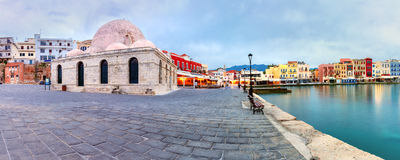 Panorama morning Venetian quay, Chania, Crete Stock Photography
