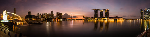 Panorama morning view at marina bay in Singapore Royalty Free Stock Images