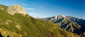 Panorama of Moro Rock in Sequoia National Park. Moro Rock in Sequoia and Kings Canyon National Park, California.  Moro Rock is a large granite dome also found in Royalty Free Stock Photos