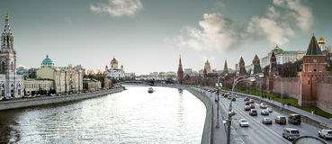 Panorama of Moscow city center near Red Square and Kremlin Royalty Free Stock Photography