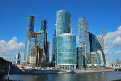 Panorama Moscow City. The Moscow international business center Moscow City (MMDTs Moscow City) — the business area under construction in Moscow on Presnenskaya Stock Photography
