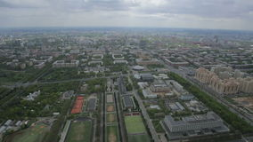 Panorama of Moscow from the height of bird flight stock footage