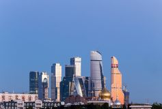 Panorama of Moscow International Business Center on the background of colorful gradient of the sky at the cloudless sunrise Royalty Free Stock Photo