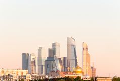 Panorama of Moscow International Business Center on the background of colorful gradient of the sky at the cloudless sunrise Stock Photography