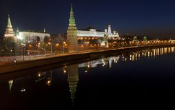 Panorama of the Moscow Kremlin with a mirror image in the Moscow river in the early morning. Russia Stock Photo