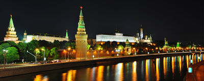 Panorama Moscow Kremlin night scense Stock Image