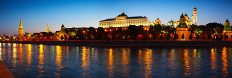 Panorama of Moscow Kremlin in night Stock Photo